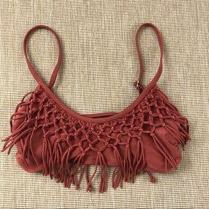 Xhiliration Bikini Top Fringed Metallic M Orange